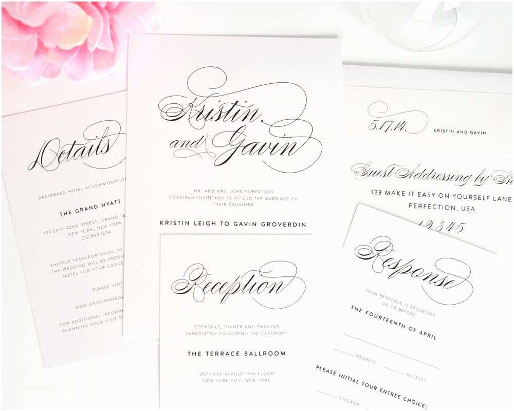 Cursive Wedding Invitations Script Elegance Wedding Invitations