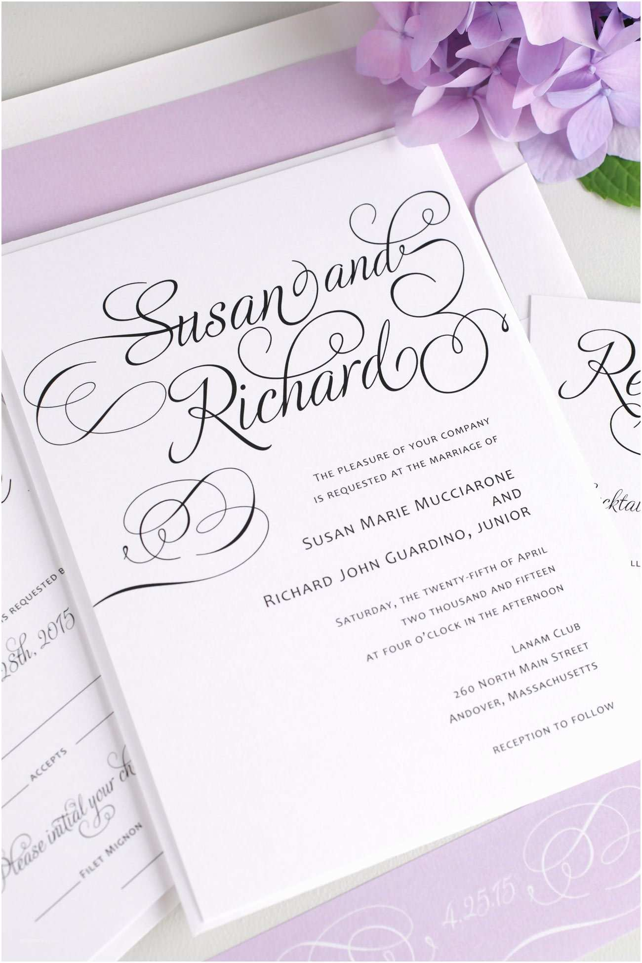 Cursive Wedding Invitations Script Wedding Invitations In Purple – Wedding Invitations