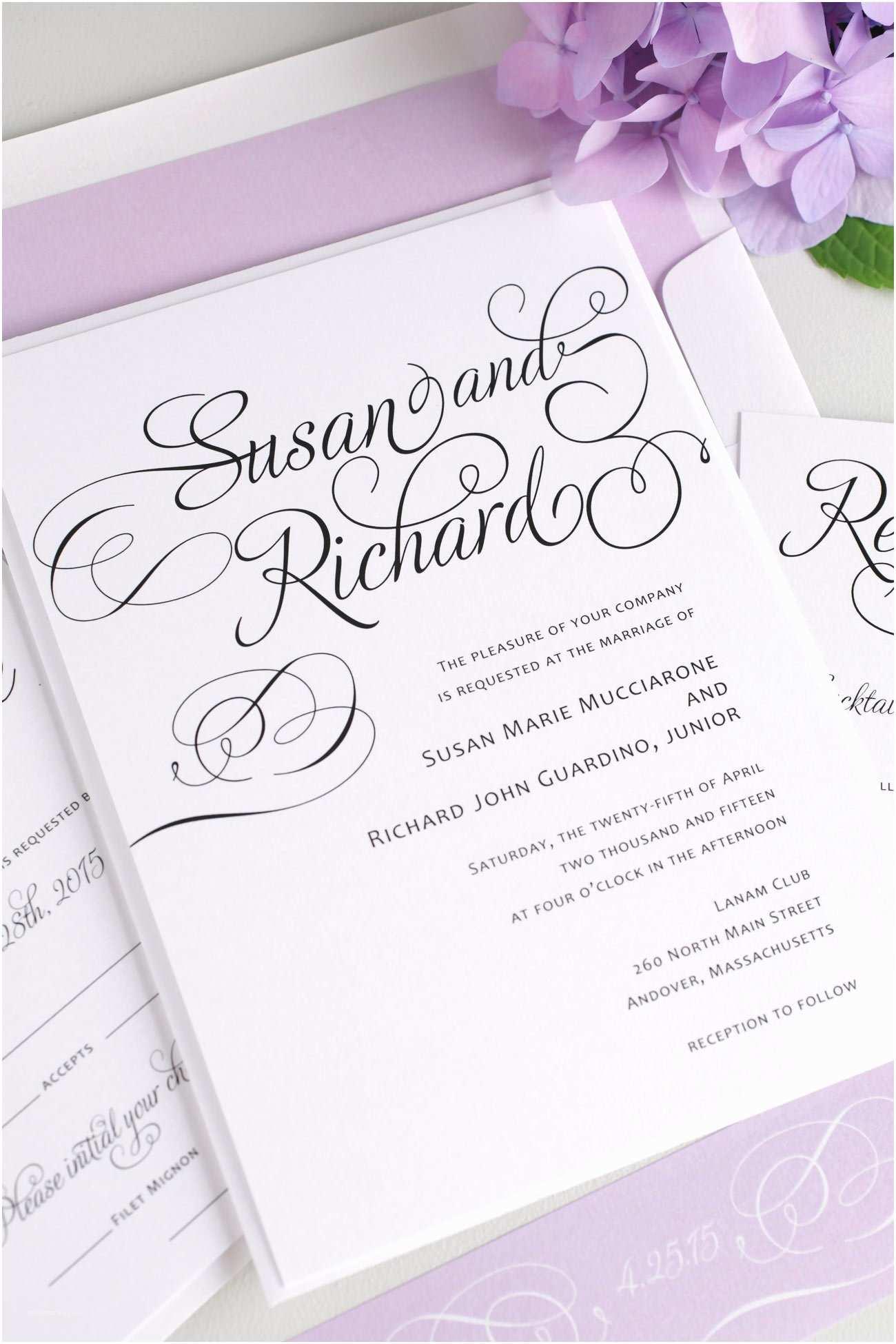Cursive Wedding  Script Wedding  In Purple – Wedding