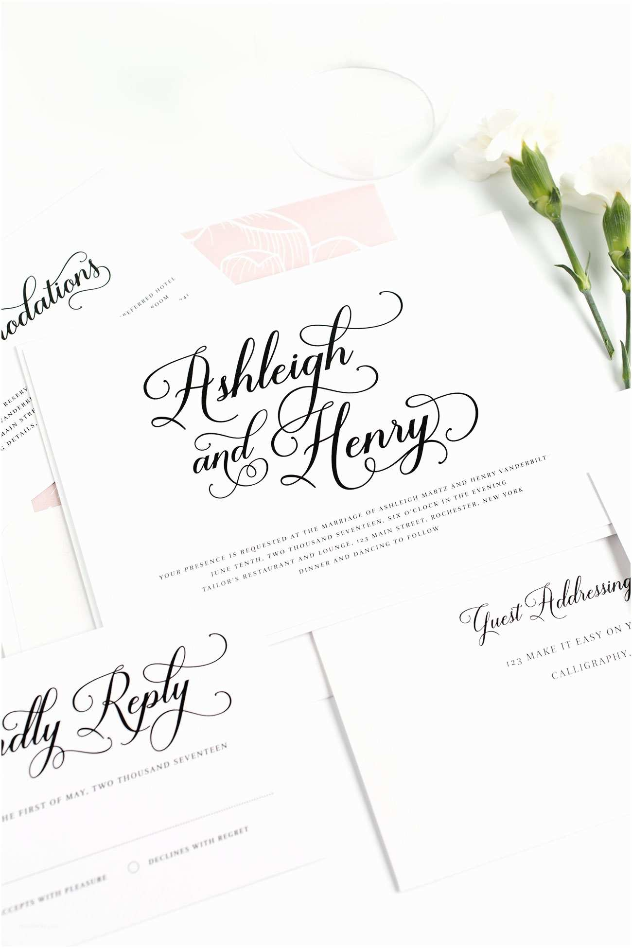 Cursive Wedding Invitations Vintage Script Wedding Invitations – Wedding Invitations