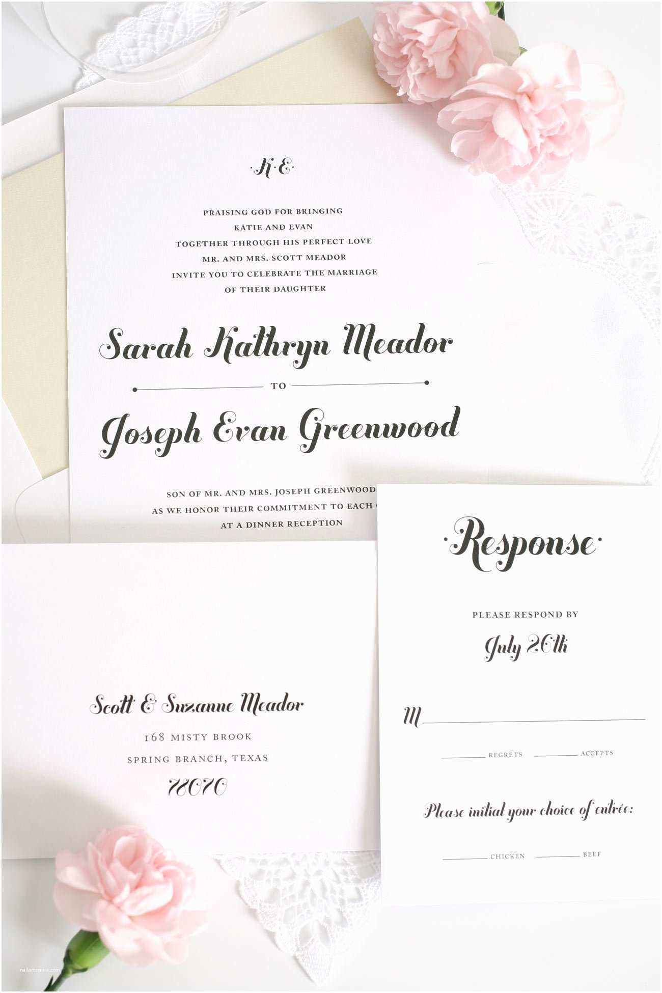 Cursive Wedding Invitations Whimsical Script Wedding Invitations – Wedding Invitations