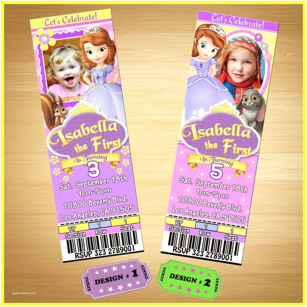 Custom Birthday Invitations 12 Printed Custom Photo sofia the First Birthday Ticket