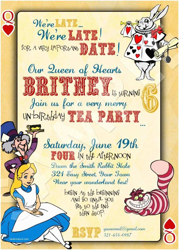 Custom Birthday Invitations 40th Birthday Ideas Alice In Wonderland Birthday