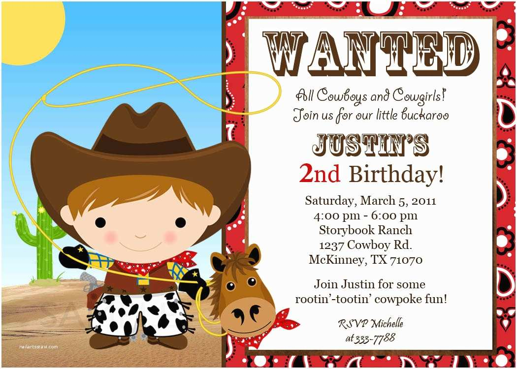 Custom Birthday Invitations Custom Cowgirl Birthday Invitations Free
