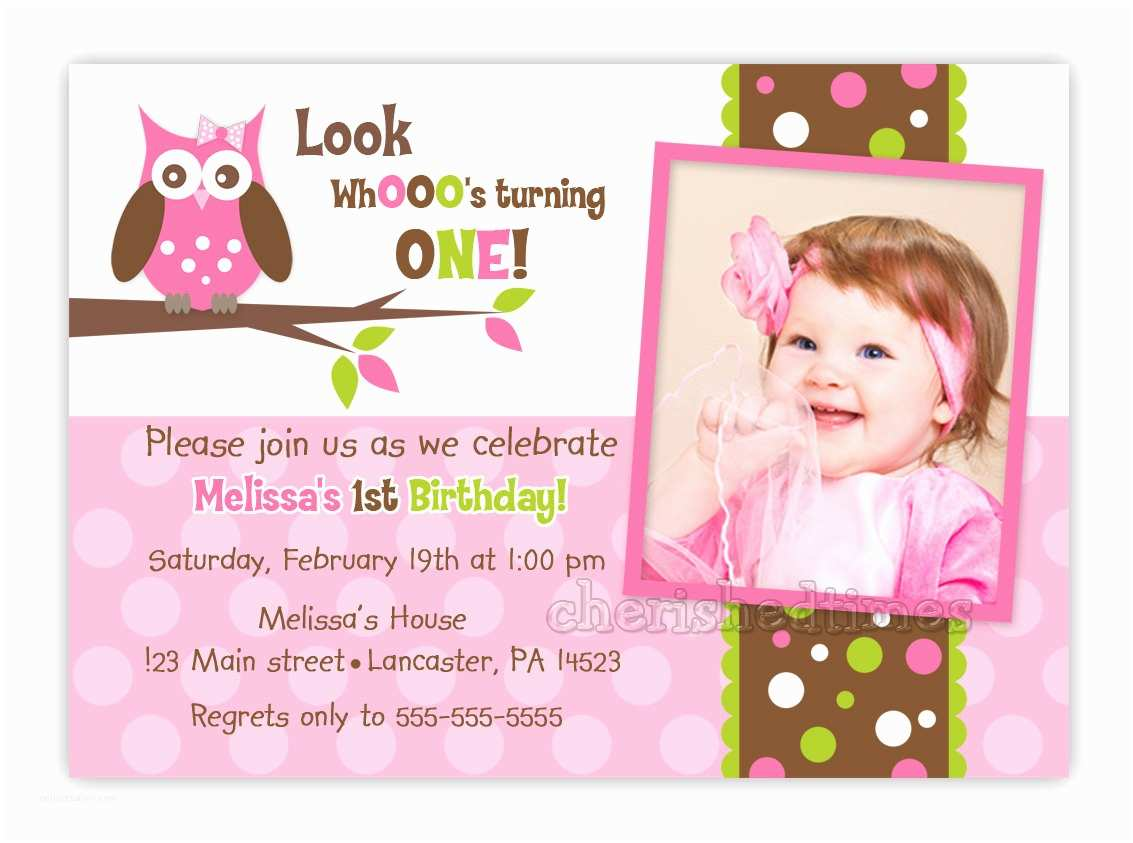 Custom Birthday Invitations Custom Owl Birthday or Baby Shower Invitation Girl You Print