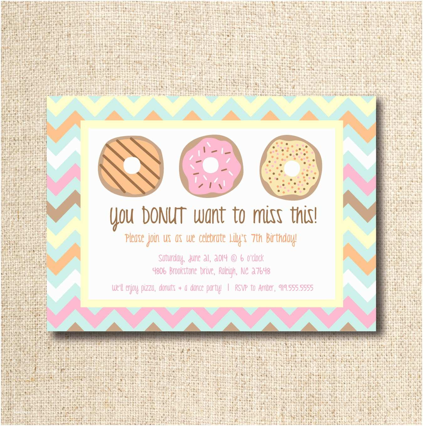 Custom Birthday Invitations Donut Doughnut Party Invitation Custom Printable File