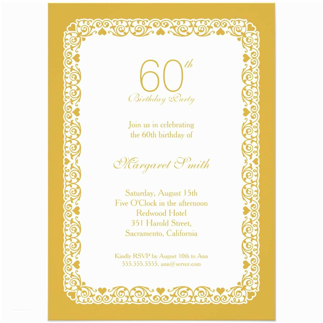 Custom Birthday Invitations Elegant Personalized 60th Birthday Party Invitations