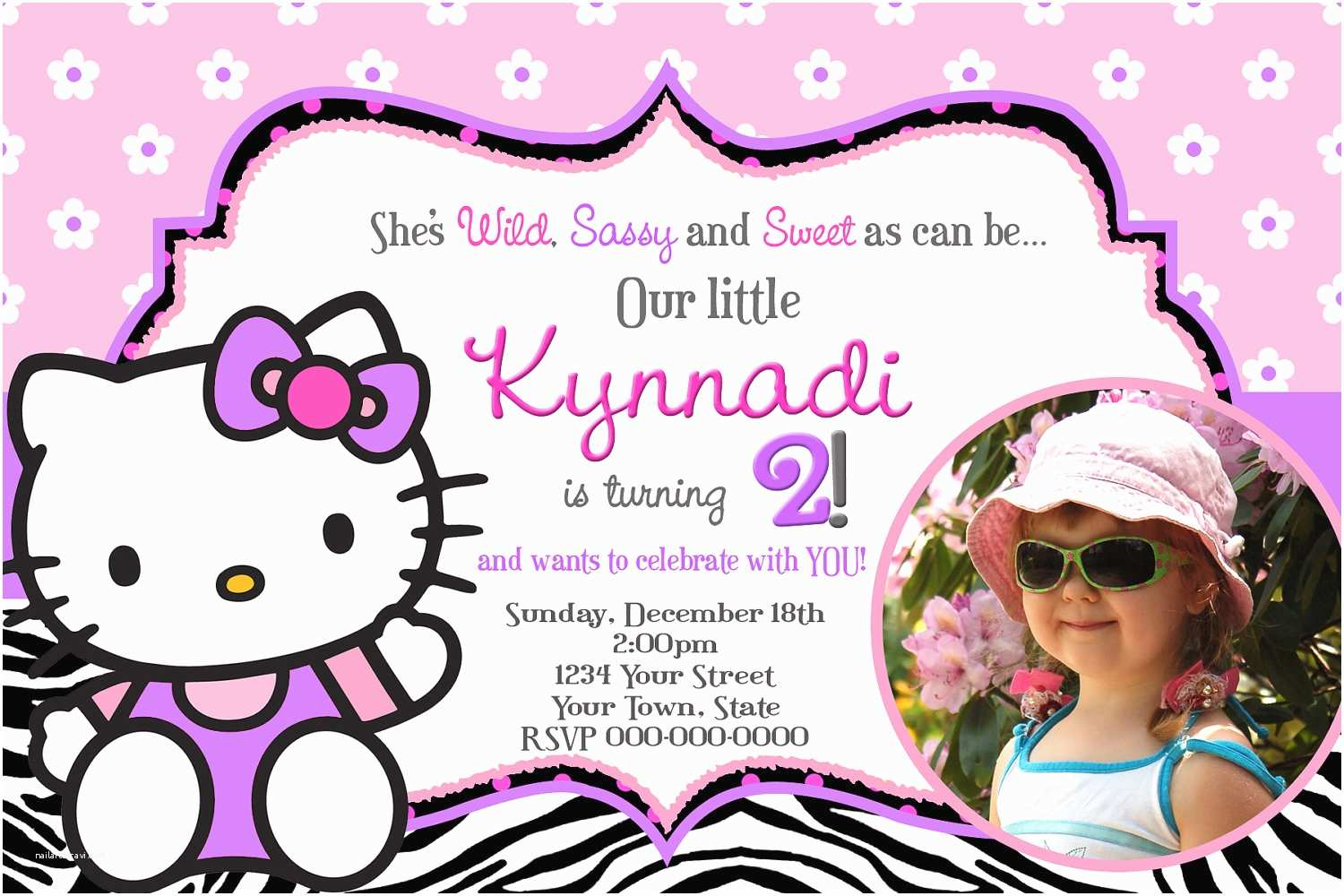 Custom Birthday Invitations Free Personalized Hello Kitty Birthday Invitations