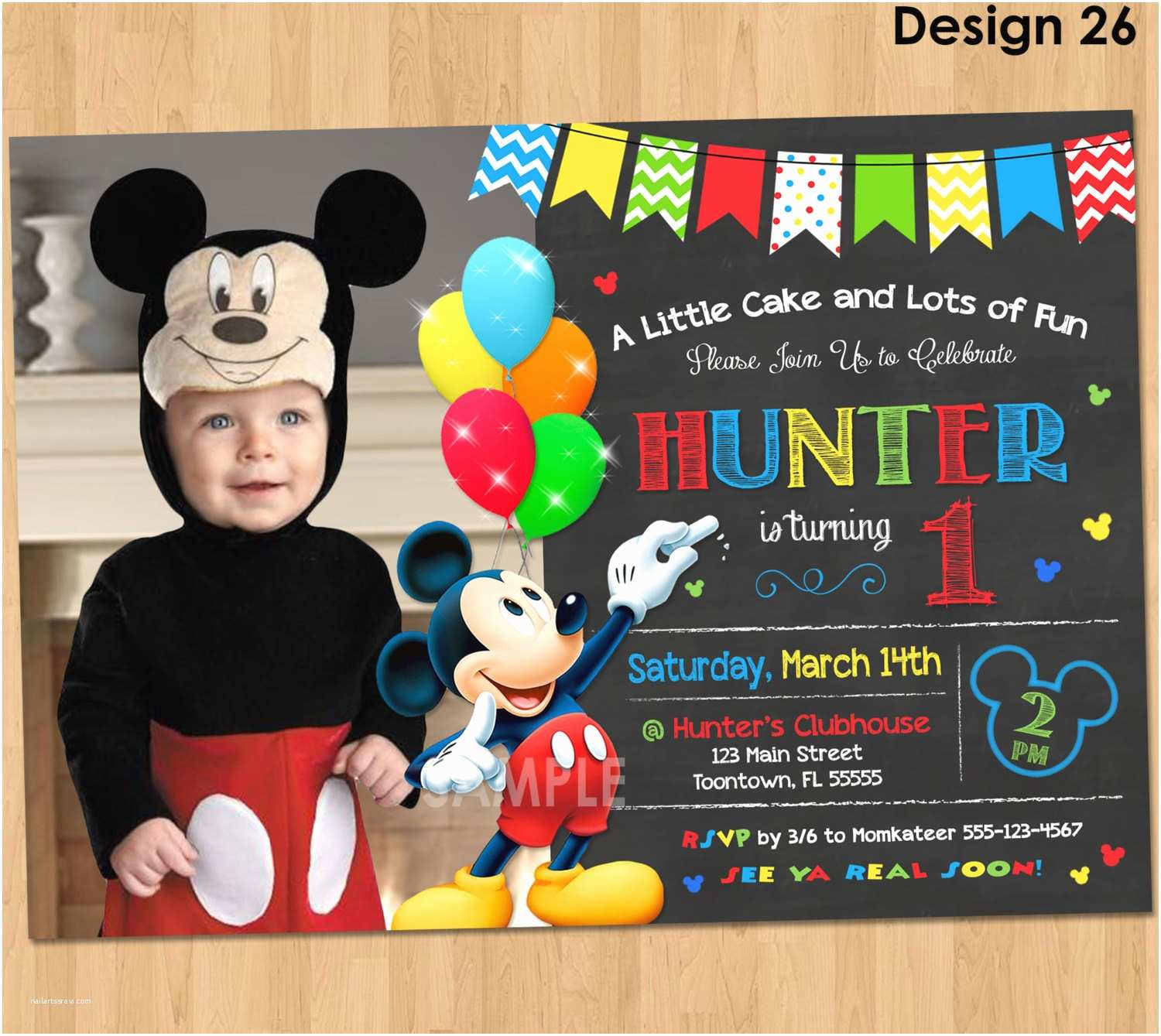 Custom Birthday Invitations Mickey Mouse Invitation Birthday Mickey Mouse 1st Birthday