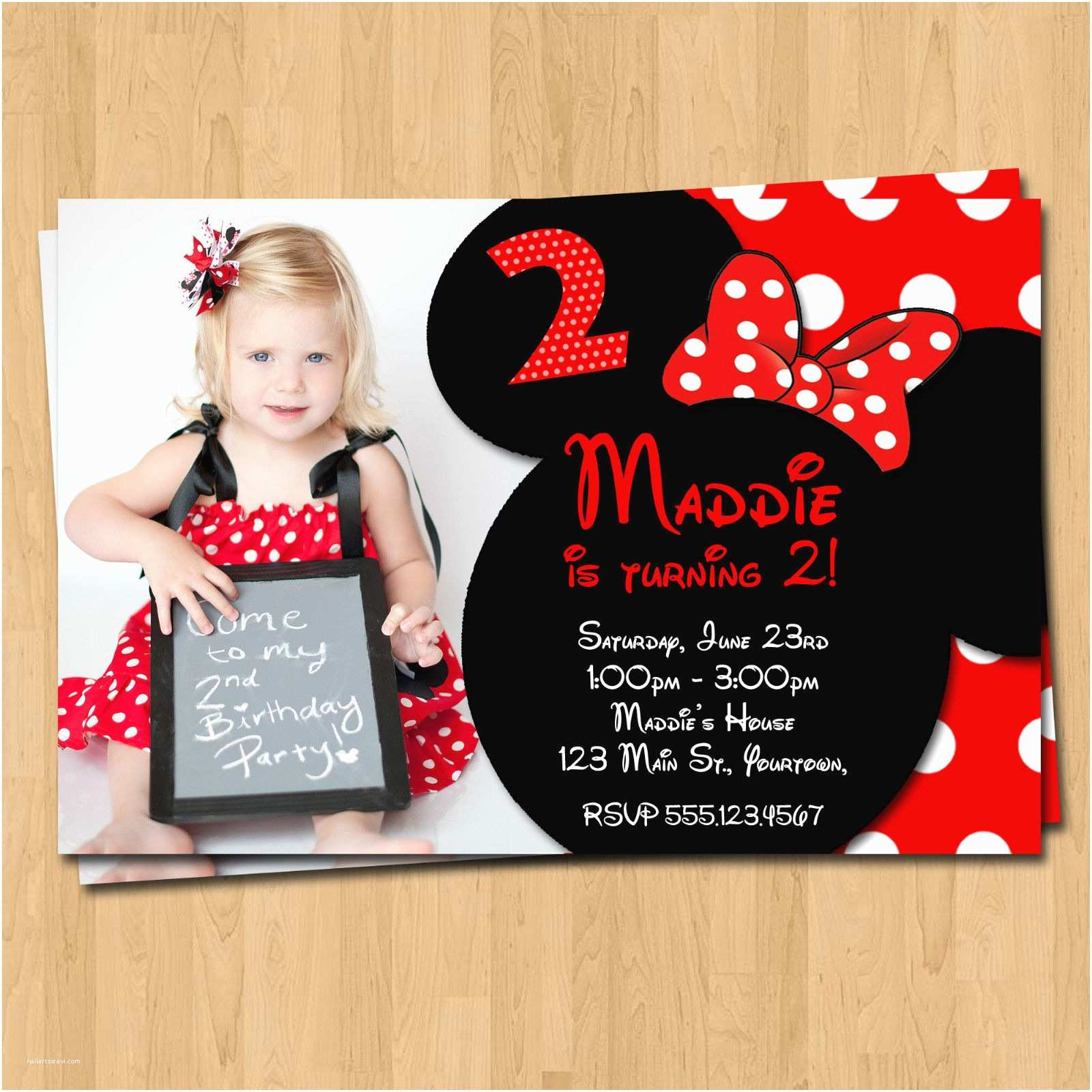 Custom Birthday Invitations Minnie Mouse Printables Invitation