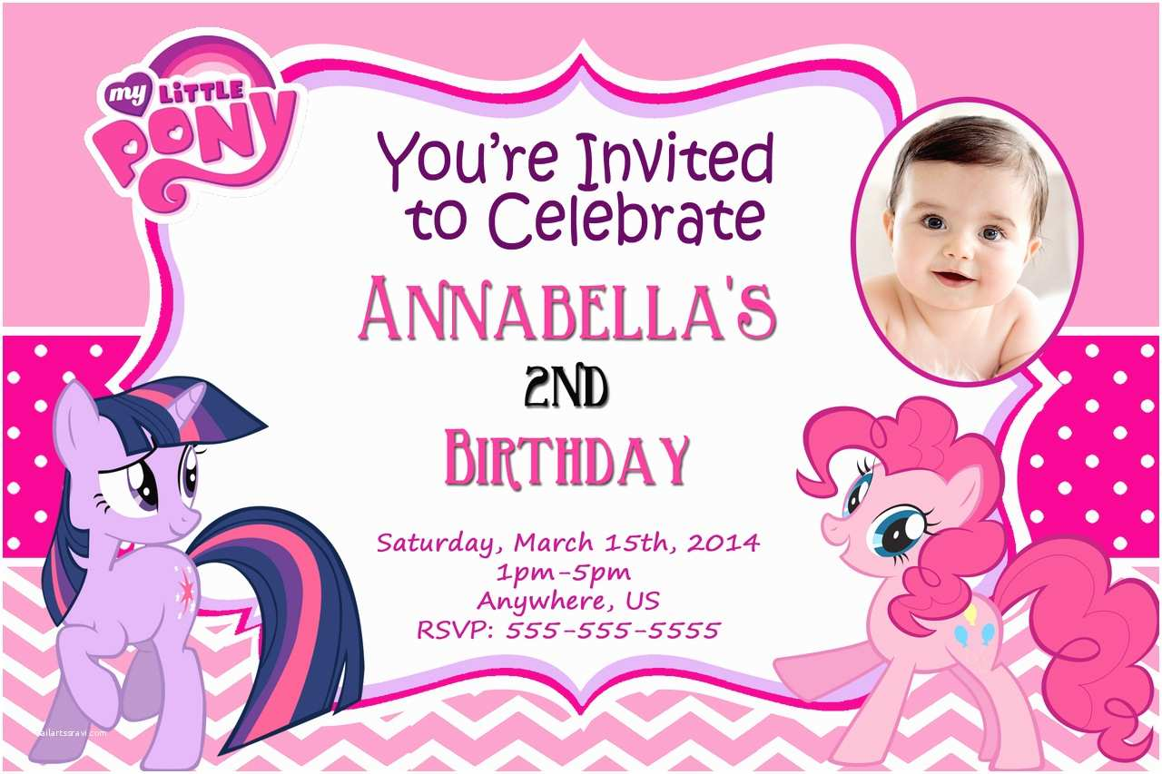 Custom Birthday Invitations My Little Pony Personalized Birthday Invitations