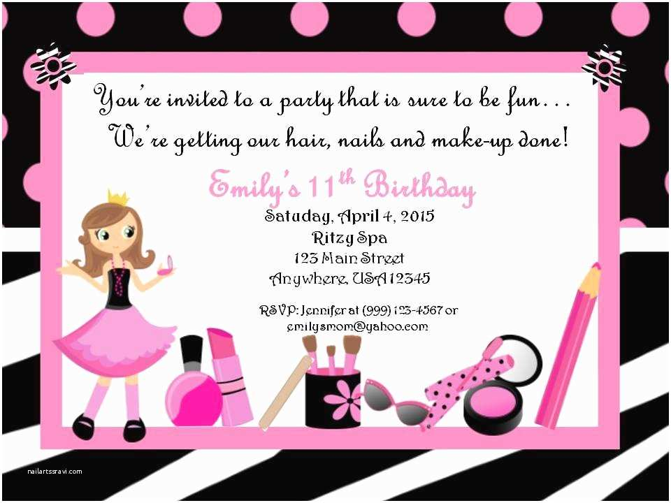 Custom Birthday Invitations Personalized Custom Spa Birthday Party Invitation Style A