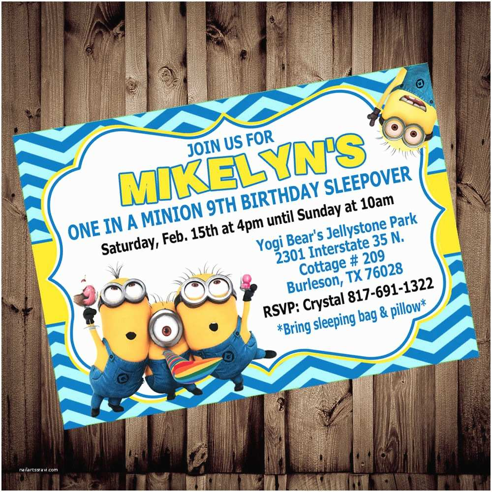 Custom Birthday Invitations Personalized Minion Despicable Me Birthday 4x6 Printed