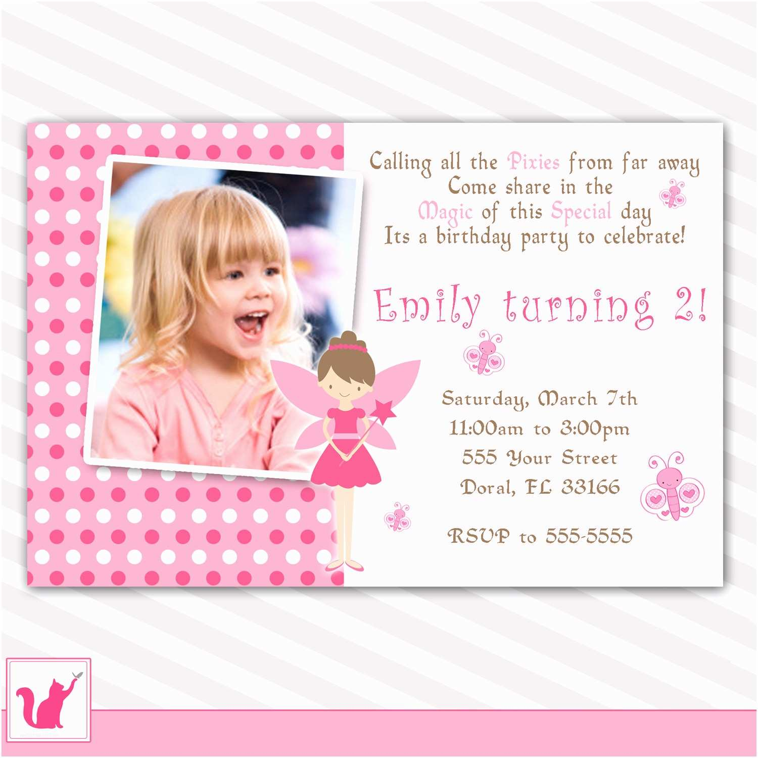 Custom Birthday Invitations Pink Fairy Birthday Invitation Custom Any Age Girl 1st