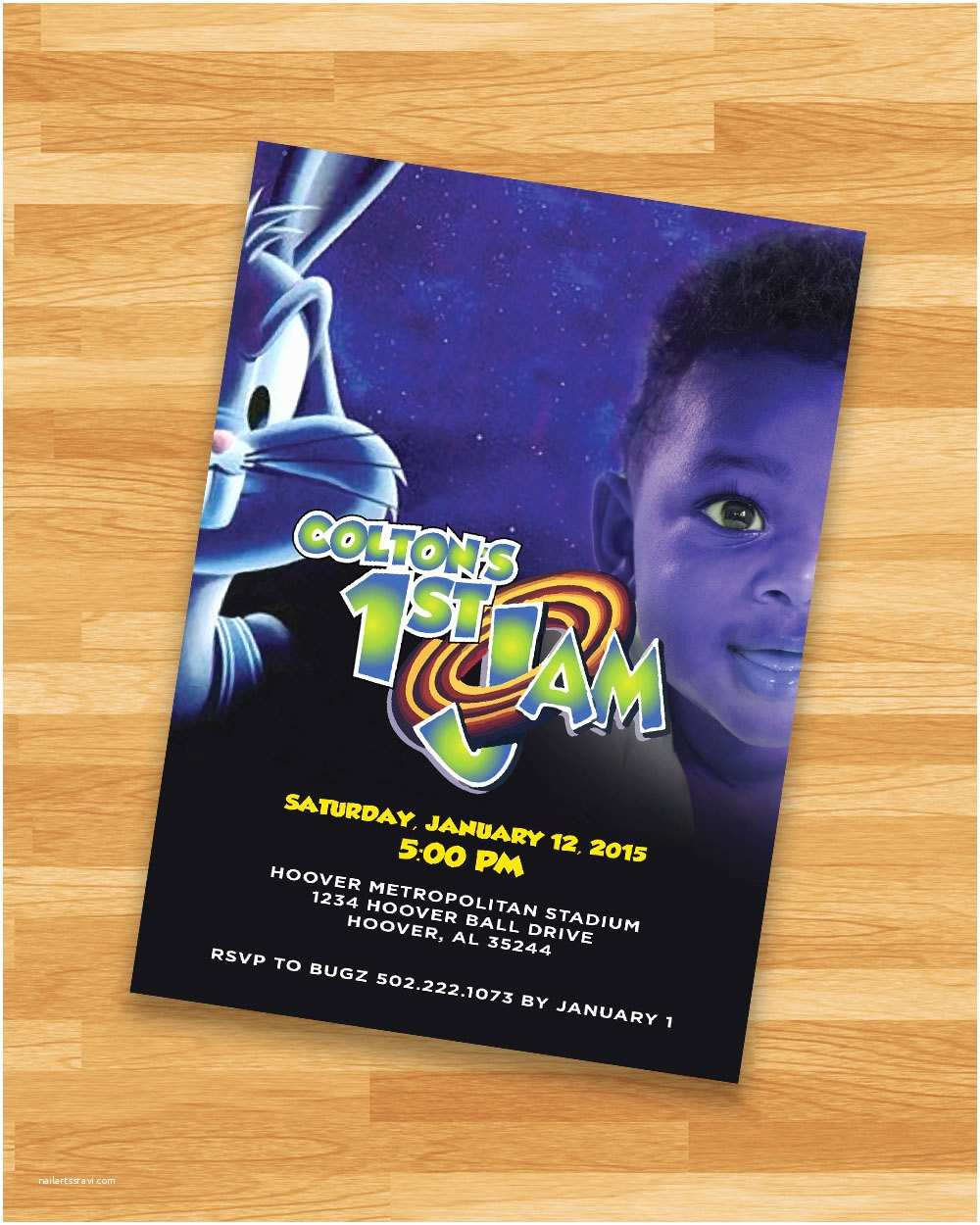 Custom Birthday Invitations Printable Space Jam Invitation Loonytoons Custom Birthday