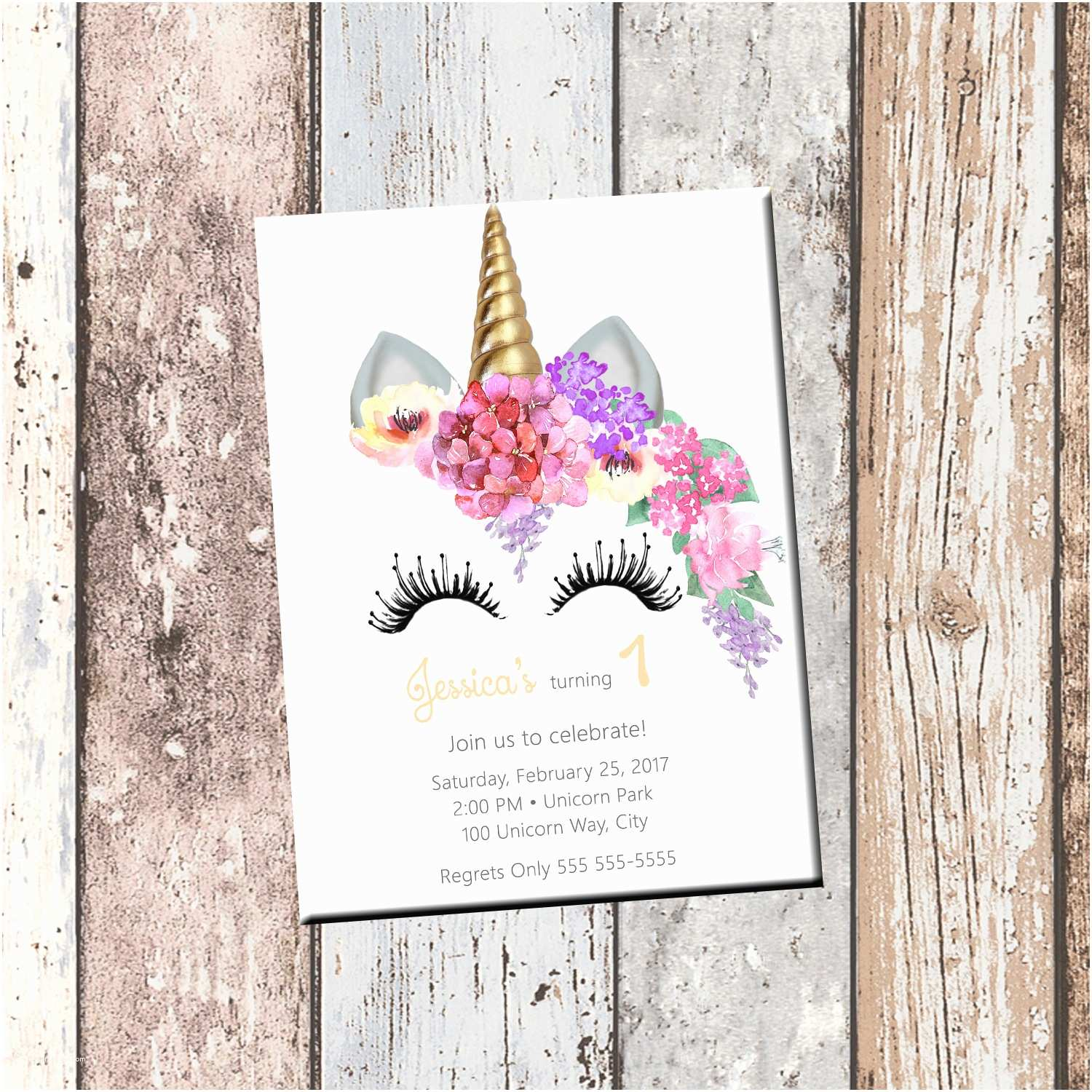 Custom Birthday Invitations Unicorn Birthday Personalized Invitation 1 Sided Birthday