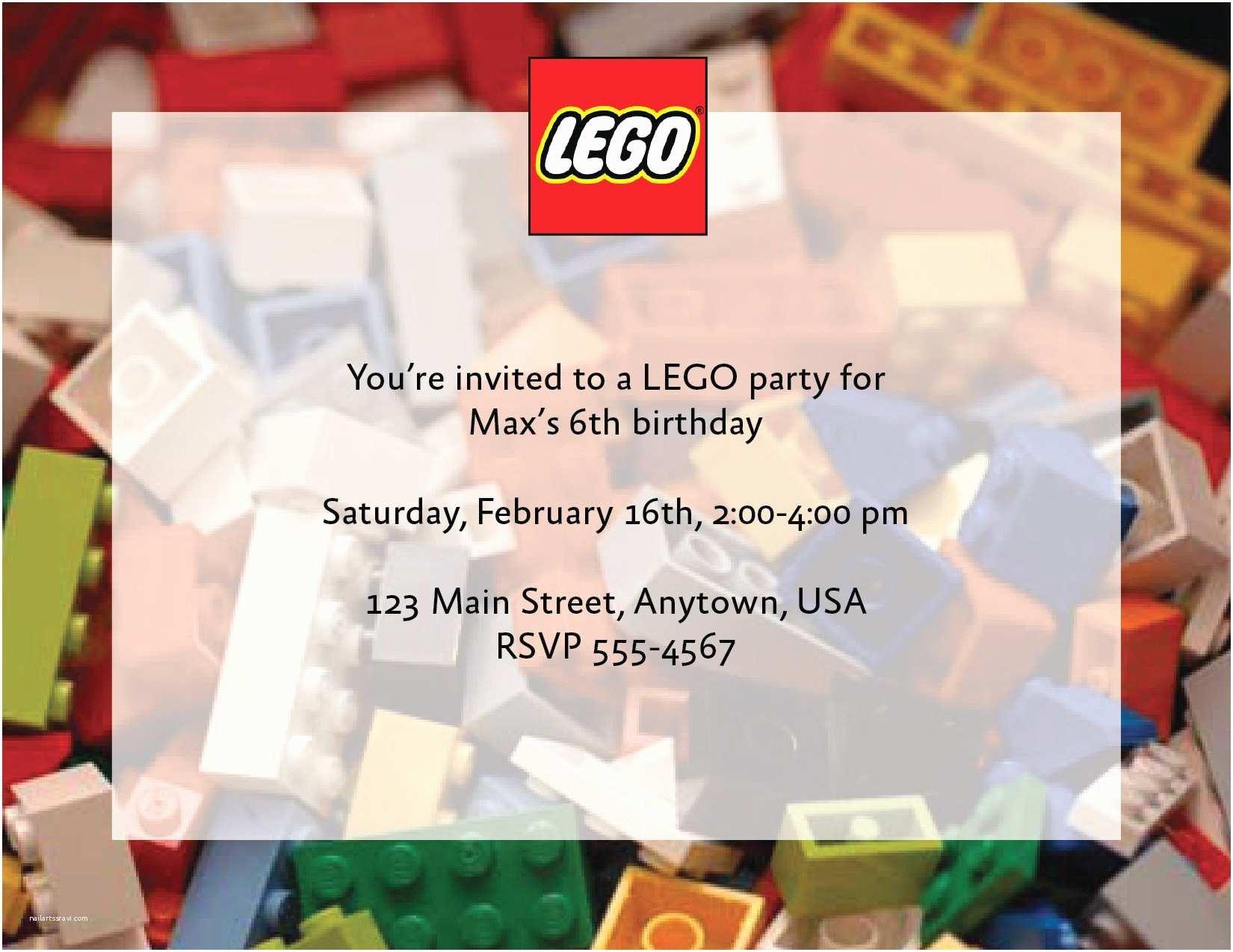 Custom Birthday Party Invitations Custom Lego Birthday Party Invitations