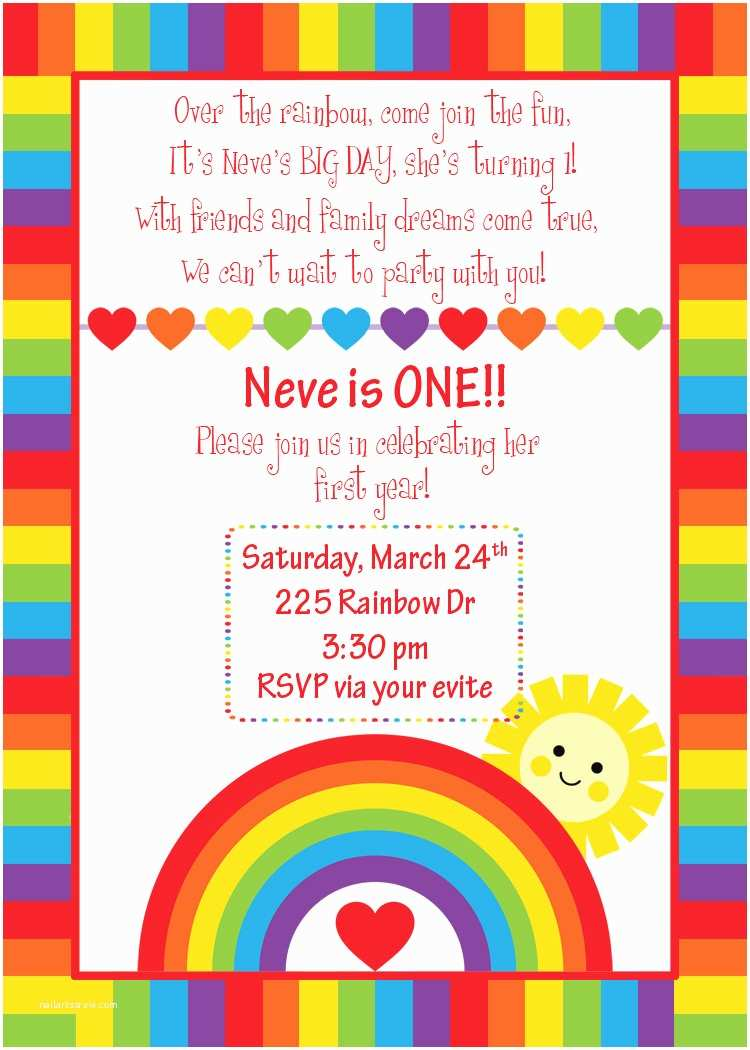 Custom Birthday Party Invitations Custom Rainbow Birthday Invitation Rainbow Design You Print