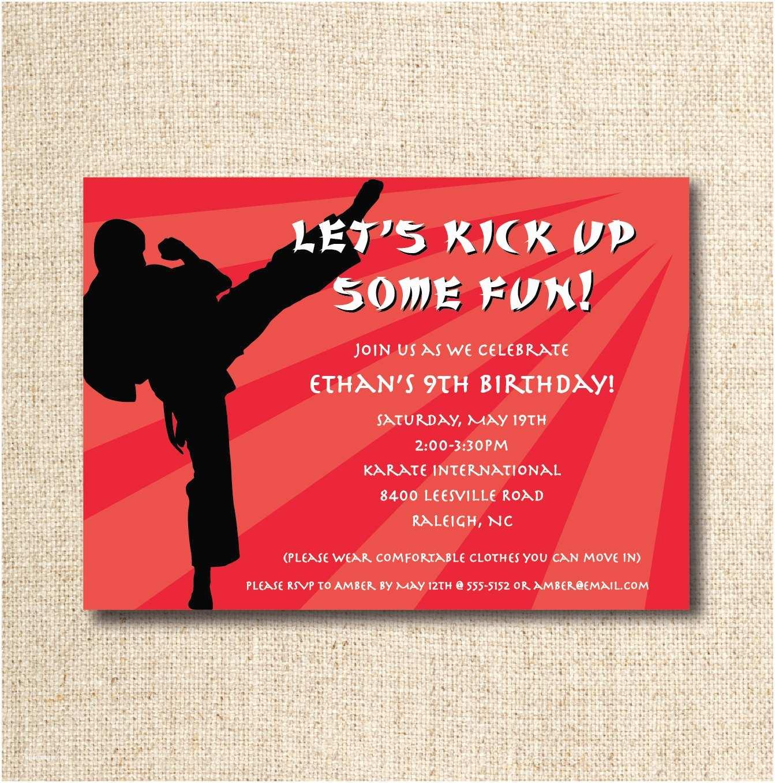 Custom Birthday Party Invitations Karate Birthday Party Invitation Custom Printable File