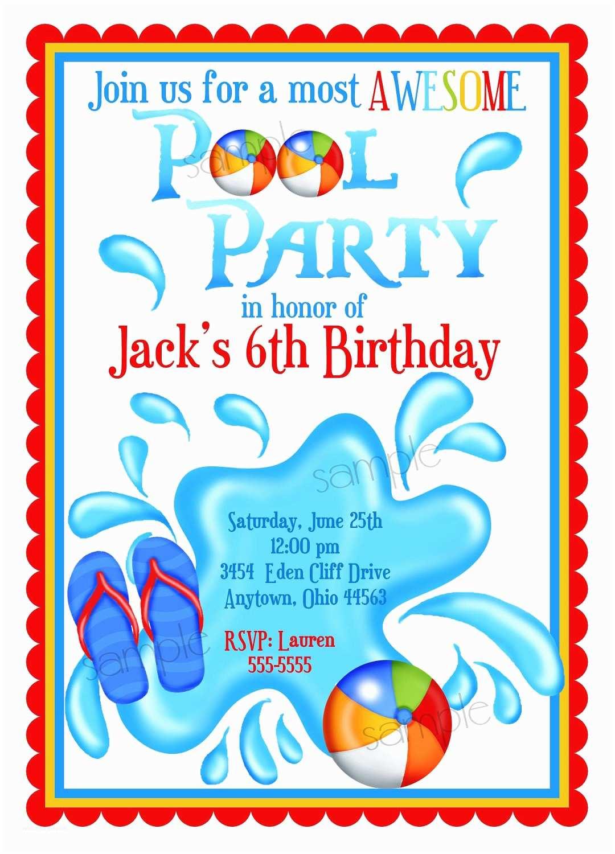 Custom Birthday Party Invitations Pool Party Invitations Personalized Invitations Boys