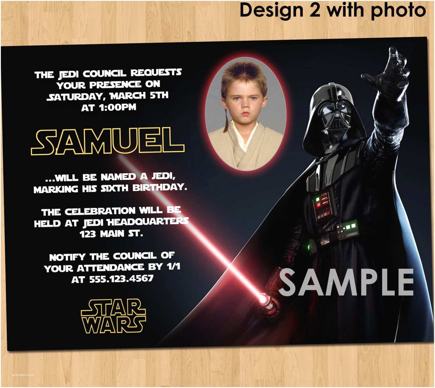 Custom Birthday Party Invitations Star Wars Birthday Invitation Custom Invite Star