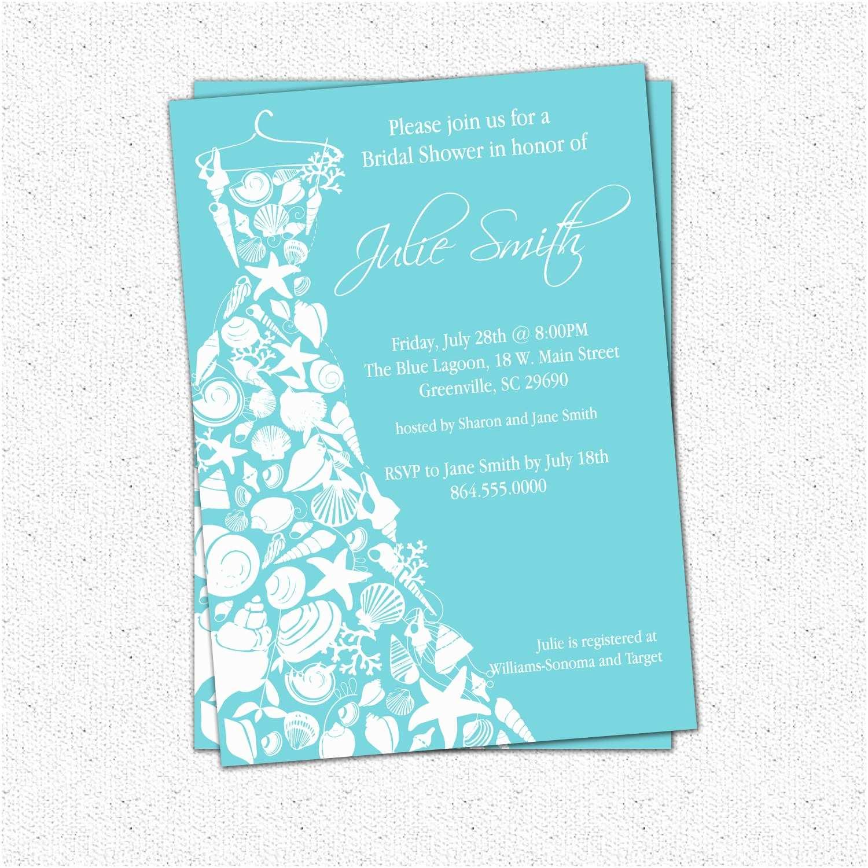Custom Bridal Shower Invitations Bridal Shower Invitation Seashell Dress Elegant Sea Shell