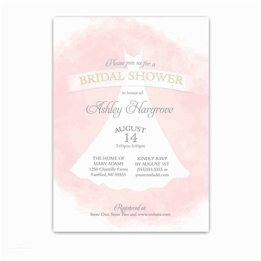 Custom Bridal Shower Invitations Bridal Shower Invitations Blush Gold Wedding Dress Watercolor