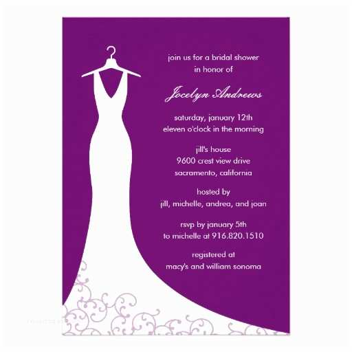 Custom Bridal Shower Invitations Couture Gown Bridal Shower Invitation Purple
