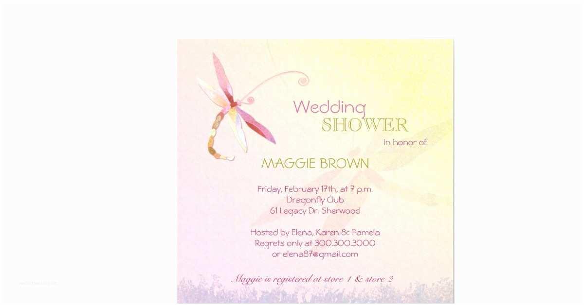 Custom Bridal Shower Invitations Dragonfly theme Unique Bridal Shower Invitations 5 25
