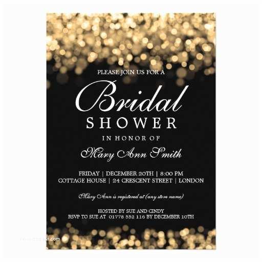 Custom Bridal Shower Invitations Elegant Bridal Shower Gold Lights Custom Invitations