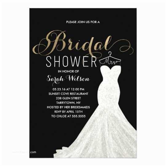 Custom Bridal Shower Invitations Extravagant Dress Gold Custom Color Bridal Shower Card