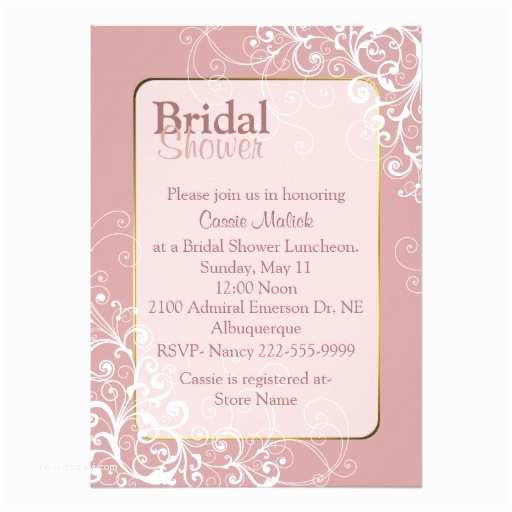 Custom Bridal Shower Invitations Pretty Dusty Rose Custom Bridal Shower Invitation