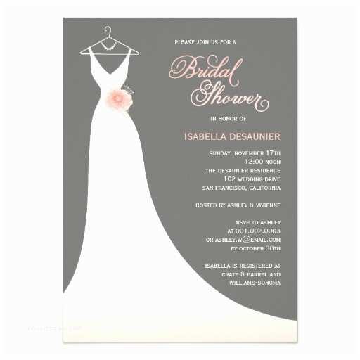 Custom Bridal Shower Invitations Stylish Elegant Wedding Gown Bridal Shower Invite