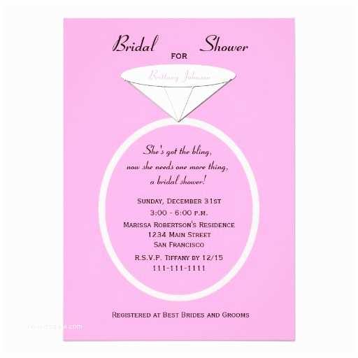 """Custom Bridal Shower Invitations Unique Ring Bridal Shower Invitation On Pink 5"""" X 7"""