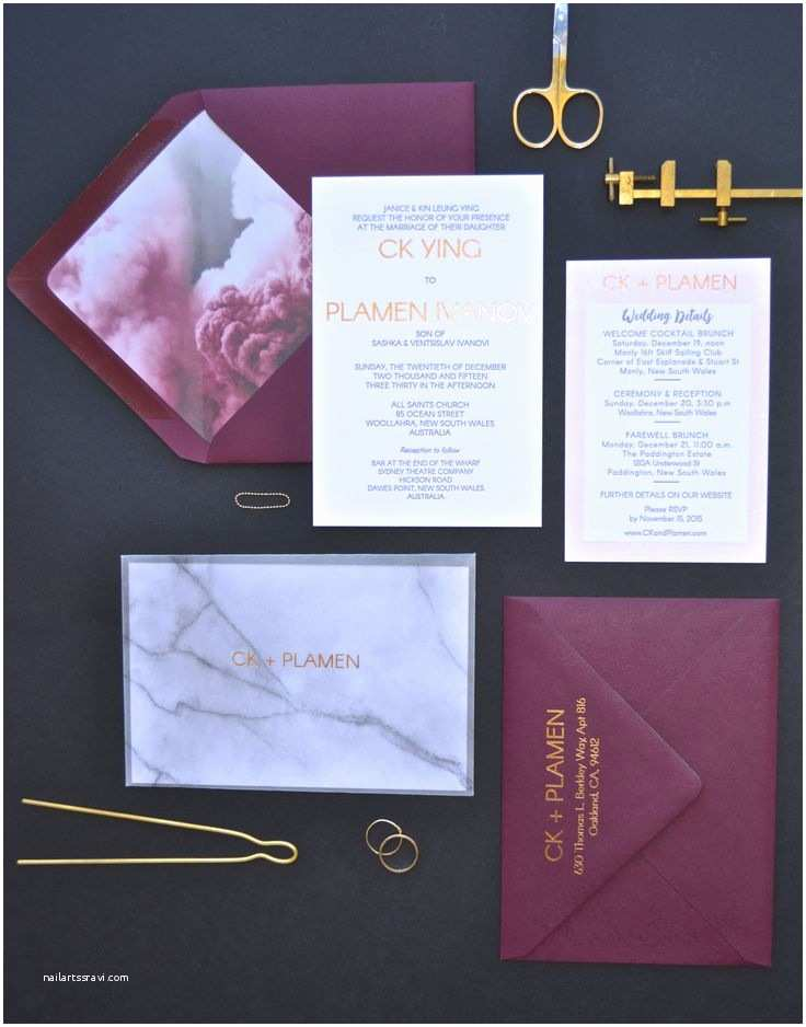 gold marble and wine custom designed wedding su