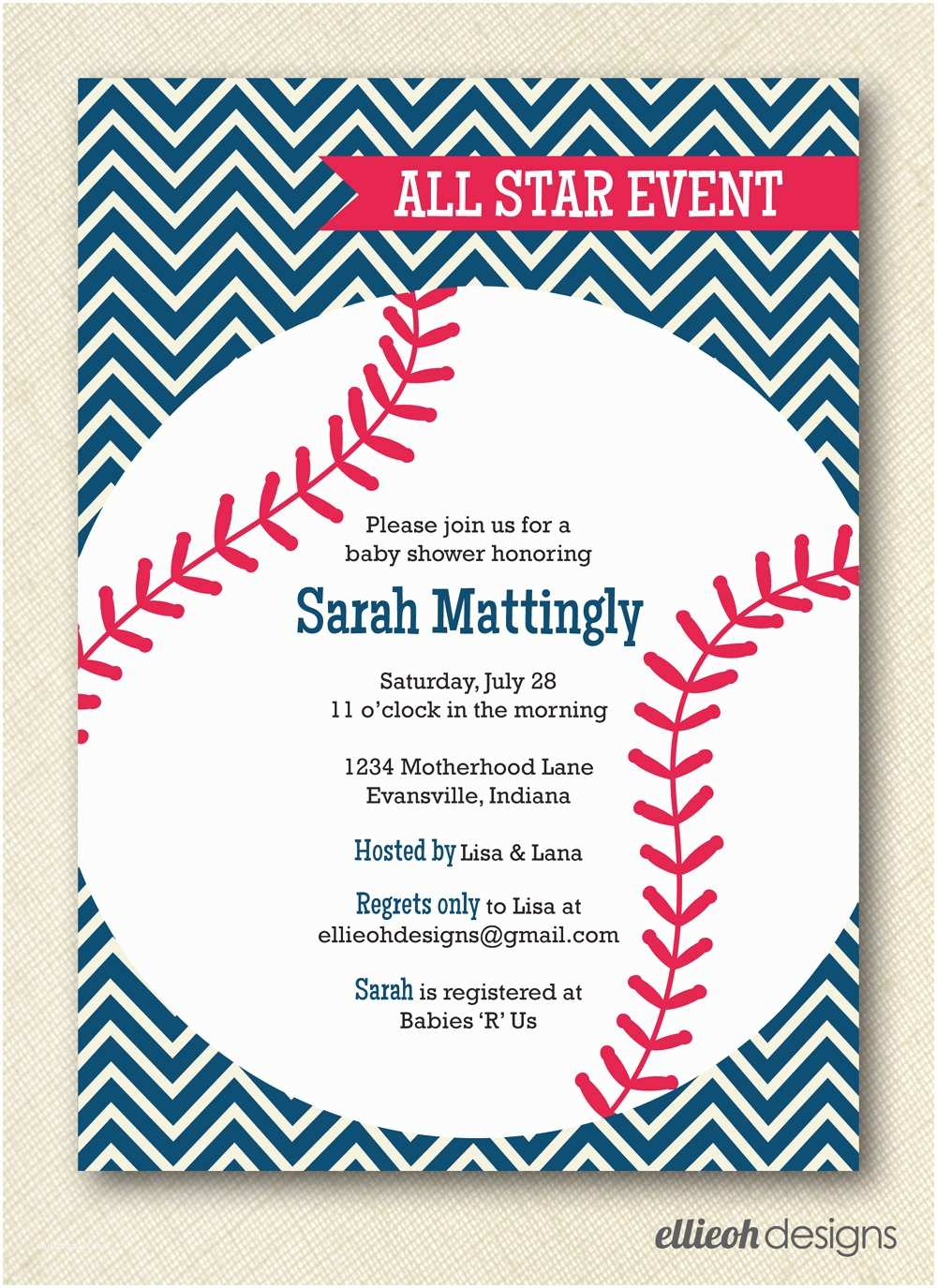 Custom Made Baby Shower Invitations Template Handmade Baseball Baby Shower Invitations