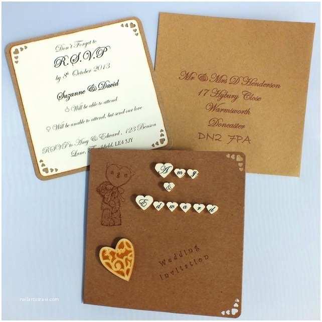Custom Made Wedding Invitations Handmade Rustic 3d Wedding Invitations Incl P Folksy
