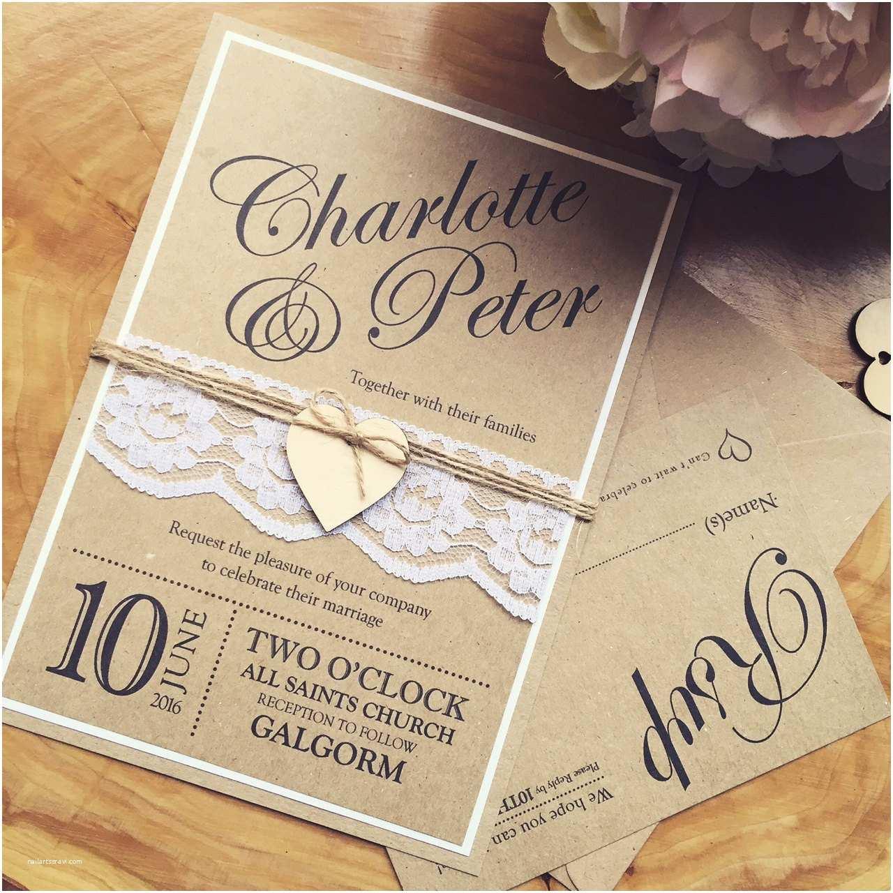 Custom Made Wedding Invitations Handmade Wedding Invitation Rustic Wedding by