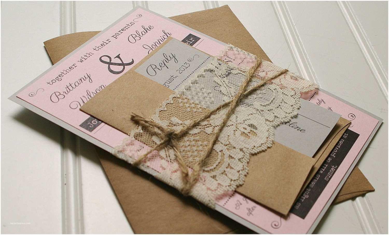 Custom Made Wedding Invitations Twine and Lace Wedding Invitations Kraft Paper Rustic