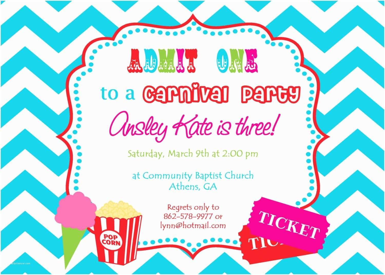 Custom Party Invitations Custom Carnival Birthday Invitations – Invitations Card Review