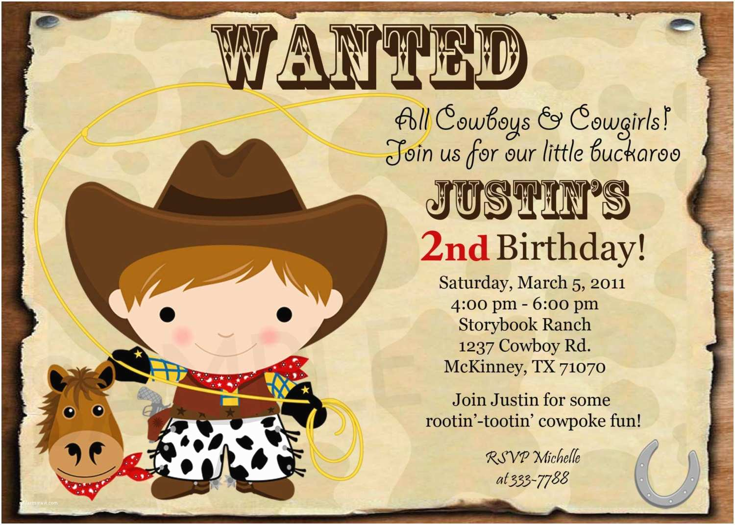 Custom Party Invitations Custom Personalized Cowboy or Cowgirl Wanted by theprintfairy