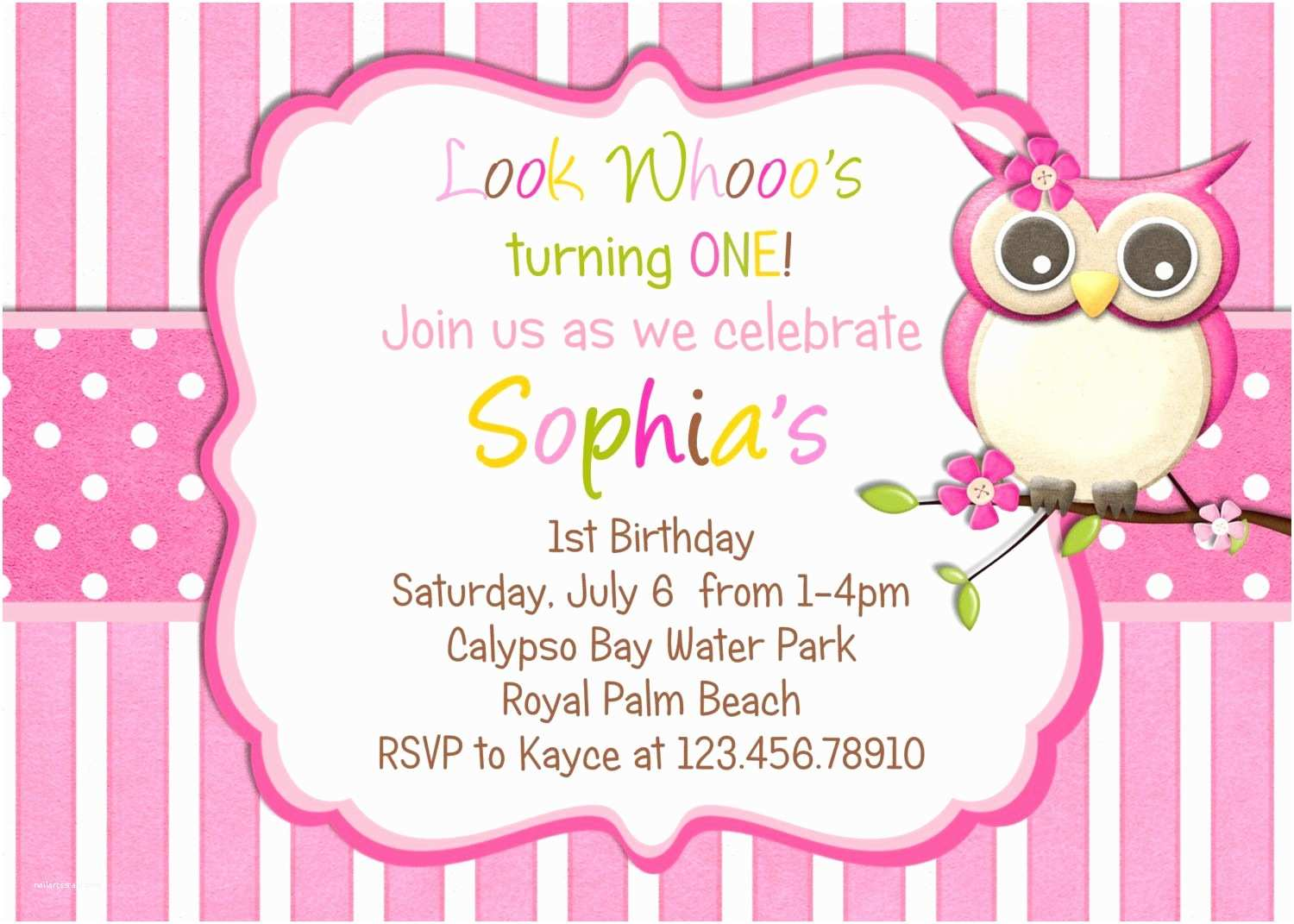 Custom Party Invitations Little Owl Birthday Invitation Pink Girl Theme