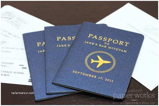 Custom Passport Wedding Invitations Bar Mitzvah Passport Invitations with Airplane Emblem