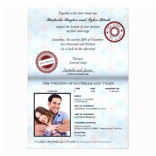 Custom Passport Wedding Invitations Italy Passport Wedding Invitation Custom Unlocked Custom