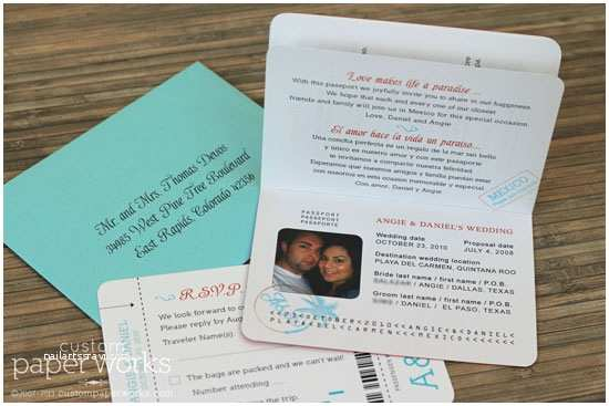 Custom Passport Wedding Invitations orange and Aqua Mexico Passport Invitations – Custom Paper