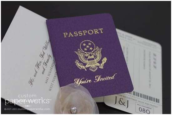 Custom Passport Wedding Invitations Purple and Gold Passport Wedding Invitation – Custom Paper