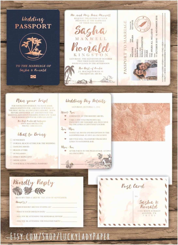 Custom Passport Wedding Invitations Rose Gold Watercolor Destination Wedding Passport