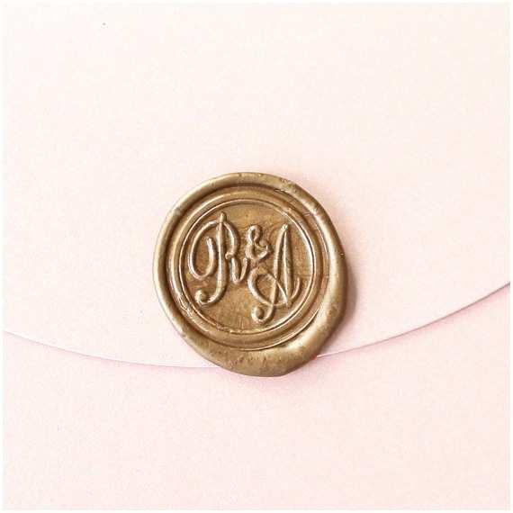 Custom Seal and Send Wedding Invitations Custom Initials Wax Seal Stamp Personalized Wedding by Bielyse