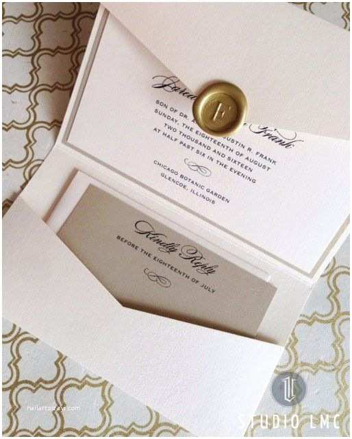 Custom Seal and Send Wedding Invitations Custom Pearl and Gold Shimmer Pocketfold Wedding