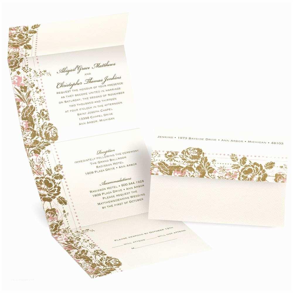 Custom Seal and Send Wedding Invitations Faded Floral Seal and Send Invitation